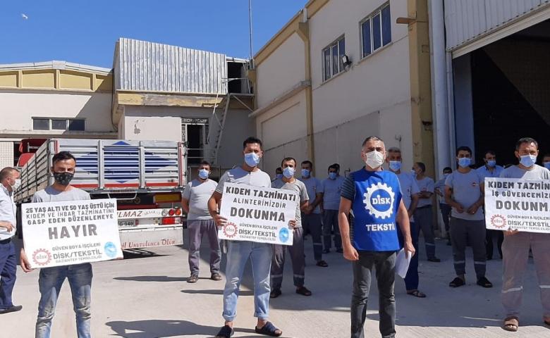 """DİSK Tekstil Temsilcisi Türkmen """"Kıdem tazminatımızı gasp ettirmeyeceğiz!"""""""