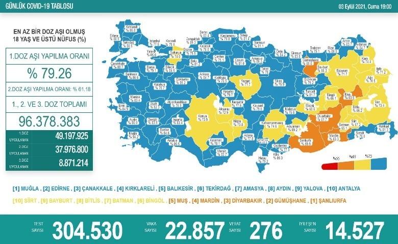Son 24 saatte korona virüsten 276 kişi hayatını kaybetti
